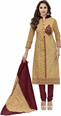 Miraan Women's Cotton Unstitched Churidar Suit Dress Material(SAN8004_ Beige_Free Size)