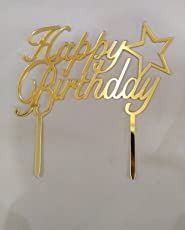 JoyGlobal Acrylic Happy Birthday Cake Topper with Star, 2-Pieces, Gold