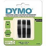 Dymo S0847730 vinyl reliëfetiketten (rol 9 mm x 3 m, witte opdruk op zwarte ondergrond, zelfklevend) verpakking van 3