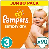 Pampers - Simply Dry - Couches Taille 3 (4-9 kg/Midi) - Jumbo Pack - Lot de 2 (2 x 90 couches)