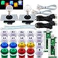 SJ@JX Arcade 2-spelare spelkontroll sticka gör-det-själv-kit LED-knappar med logotyp MX Microswitch 8-vägs joystick USB-kodar