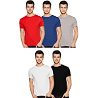 Amazon Brand - Symbol Men's Solid Regular Fit Half Sleeve Cotton T-Shirt (Combo Pack of 5)