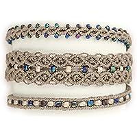 Bracciale tre in uno fatto a mano - Colori sabbia, blu, bianco - Bottone in madreperla - Stile etnico, moda mare…