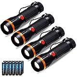 Fulighture Torcia Led, 4 Pezzi Torce Elettriche, 2 Modalità 70lm Torcia Bambini a Batteria, Batterie Incluse, Portatile per c