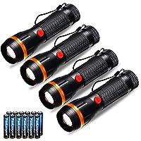 Fulighture Torcia Led, 4 Pezzi Torce Elettriche, 2 Modalità 70lm Torcia Bambini a Batteria, Batterie Incluse, Portatile…