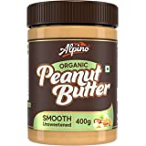 Alpino Organic Natural Peanut Butter Smooth 400 G | Unsweetened | Made with 100% Roasted Organic Peanuts | 30% Protein | No A