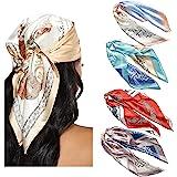 WELROG 4 Pack Sciarpa in Raso Quadrato 60 * 60cm Foulard per donna, Bandane Sciarpa di Seta come Fazzoletti da collo Bandane