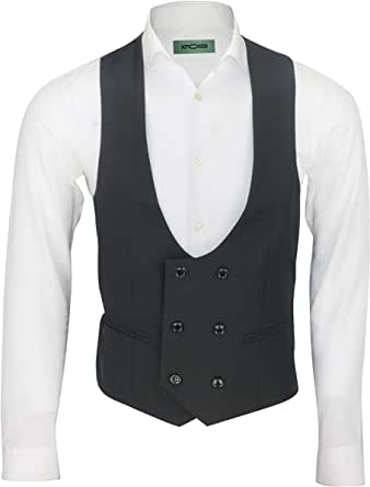 Xposed Mens Double Breasted Low U Cut Formal FittedSmart Casual Waistcoat, Black, 42