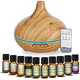 MEVA Difusor de aceites esenciales Humidificador Ultrasónico 500ml para Aromaterapia y purificador de aire con 7 colores Led