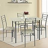 VS Venta-stock Ensemble de Table et 4 chaises pour Salle à Manger Lima Chêne/Gris, Table 110 cm x 70 cm x 76 cm, Structure mé