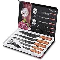 Velaze Couteau Japonais en Acier Carbone Inoxydable, Couteau Damas Cuisine de 6Pcs, avec Revêtement Noir, Couteau de…