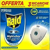 Raid Night & Day Ricarica, Antizanzare Elettrico, Repellente Zanzare Inodore a Sabbia Compressa, Confezione da 3…