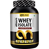 Abbzorb Nutrition Whey Isolate 27.4g Protein | 7g BCAA -with Digestive Enzymes 1 kg (Chocolate Flavour)