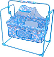 Ehomekart Baby Plastic Mobile Cradle/Crib Swing with Mosquito Net and Pillow (Multicolour)
