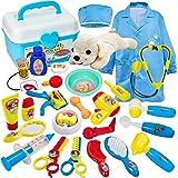 Buyger 2 en 1 Maletin Medicos Veterinaria y Cuidado de Mascotas Juguetes Perrito Veterinaria Enfermería Doctora Kit Juego de