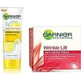 Garnier Skin Naturals Light Complete Facewash, 100g and Garnier Skin Naturals Wrinkle Lift Anti Ageing Cream, 18g