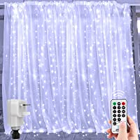 300 LED Curtain Lights Icicle String 3M X 3M, Plug in Fairy Lights Remote Control Timer 8 Lighting Modes, Connectable…