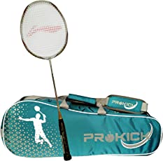 Li-Ning Pro Badminton Combo (Turbo X 90 II Lightweight Badminton Racquet, White/Gold + Prokick Double Zipper Badminton Kitbag, Cyan)