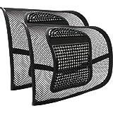 2 Pezzi Supporto Lombare Cuscino Lombare Sedia Ufficio, RenFox Schienale Ergonomico Cuscino per Auto Ufficio Casa Viaggio Ort