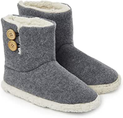 Dunlop Mens Slippers, Faux Fur Bootie Slippers Men, Slipper Ankle Boots with Rubber Sole, Memory Foam Plush House Slippers for Women and Ladies, Indoor Outdoor, Gifts for Men