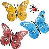 Hotop 4 Pièces de Papillon en Métal Art Mural en Métal Décor de Coccinelles de Jardin pour Intérieur Extérieur de Mur de Jard