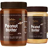 Nutrio 100% Natural Peanut Butter (Crunchy + Chocolate Flavour | 500g + 500g)(Unsweetened | Organic)(Pack of 2)
