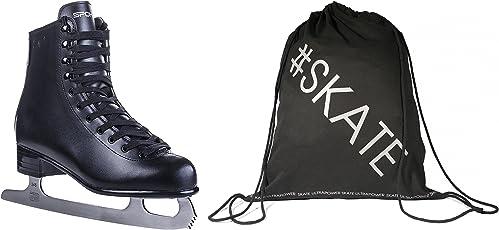 SET - SPOKEY® Eiskunstlauf-Schlittschuhe + ULTRAPOWER® Beutelrucksack | Verschiedene Modelle | Damen | Herren | Kinder | Edelstahlkufen | Kunstleder | 35-46