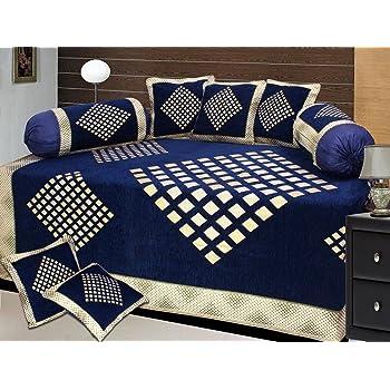 The Intellect Bazaar 500 TC Chenille Velvet Diwan Set ( 8 pieces ) - Modern, Blue