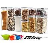 JUCJET Boite de Rangement Cuisine Lot de 10, Bocaux Hermetiques Alimentaires en Plastique Scellée avec Couvercle, 20 Étiquett