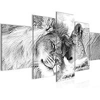 Runa Art - Bilder Löwen Liebe 200 x 100 cm 5 Teilig XXL Wanddekoration Design Schwarz Weiss 002151c