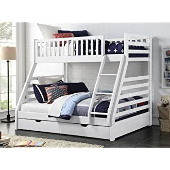 67e625e5dcf4 Sweet Dreams States Wooden Triple Sleeper Bunk Bed Frame White Wood with  Drawers