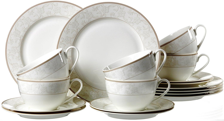 Ritzenhoff U0026 Breker Kaffeeservice Isabella, 18 Teilig, Fine China  Porzellangeschirr, Weiß Mit Ornamenten: Amazon.de: Küche U0026 Haushalt