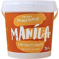 ManiLife Beurre de Cacahuète - Peanut Butter - Entièrement Naturel, d'Origine Unique, sans Sucre Ajouté, sans Huile de Palme – Deep Roast Crémeux (1 x 1 kg)