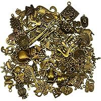100 pezzi Bronzo antico Vintage Charms Set fai-da-te accessori fatti a mano collana pendenti monili