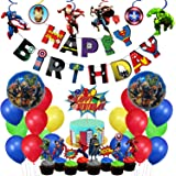 Party Propz Superhero Theme Birthday Decoration Combo For Boys 66pcs Balloons, Cake Topper, Foil Balloon, Swirls Set For Supe