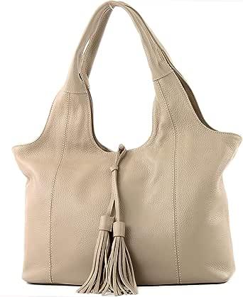 modamoda de - T105 - ital. Schultertasche Groß aus Leder