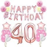 KUNGYO Rosa Oro Buon Compleanno Decorazioni Kit per 40 Anni Rose Gold Happy Birthday Bandiera Numero Gigante 40 e Stelle Pall