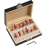 Meister freesset 12-delig - voor houtbewerking - voor bovenfrezen met 8 mm schacht - hardmetaal/groeffrees/tandfrees/verzonke