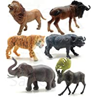 SaleON 6pc Large Size Wildlife Original Look Premium Quality Wild Animal with Detailing , Children Puzzle Early…