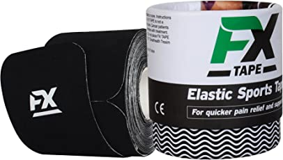 FX TAPE Elastic Kinesiology Therapeutic Cotton Sports Tape (20 Precut 10in Strips, Black Color)
