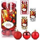 Aitsite 24PCS Palle di Natale Palle per Albero di Natale Bauble 6 CM Porta Applique Ornamenti Decorazioni Albero Palle Decora