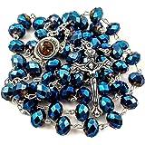 Nazareth Store, rosario cattolico con perline di cristallo, medaglietta con terra sacra e con crocifisso e croce, in sacchett