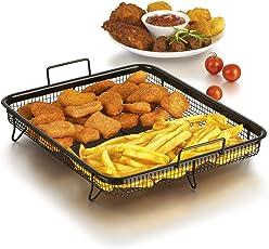 Grillkorb Heißluft für Backofen ( Edelstahl-Grillkorb für fettarmes Heißluft-Garen im Ofen