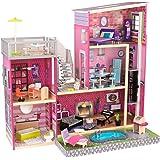 KidKraft 65833 Uptown Puppenhaus aus Holz mit Zubehör für 30 cm große Puppen mit 36 Accessoires und 3 Spielebenen