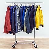 Tatkraft Darren   Stabiler Kleiderständer, Kleiderstange Chrom Bis Zu 100 KG  Verstellbare Länge   Montage ohne Werkzeug   Maße: 70-121x49x150 cm