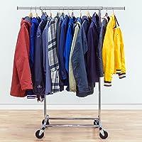 Tatkraft Darren, Portant à Vêtements Commercial Pliable en Acier Chromé, Penderie pour Vêtements avec roulettes Robuste…