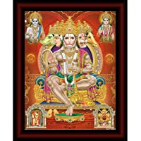 SAF Panchmukhi Hanuman Framed Acrylic Glass Painting 14 inch x 11 inch SANFR33