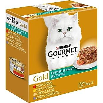 Gourmet Gold Raffiniertes Ragout mit Rind & Tomaten, Huhn & Karotten, Truthahn & Spinat, Lamm & grüne Bohnen, Katzennassfutter, Dose, 2er Pack (2 x 85 g)