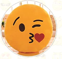 Skylofts Plush Romantic Flying Kiss Emoji Smiley Pillow/ Cushion Soft Toy, 37cm (Yellow)