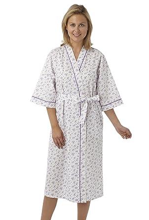 Ladies Poly/Cotton Kimono Style Wrapover Dressing Gown Pink Blue ...